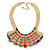 Tribal Semiprecious Bead with Multicoloured Silky Cord Bib Necklace In Gold Tone - 40cm L/ 8cm Ext - view 4