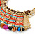 Tribal Semiprecious Bead with Multicoloured Silky Cord Bib Necklace In Gold Tone - 40cm L/ 8cm Ext - view 3
