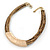 Statement Brown Snake Style Faux Leather Multi Cord Choker Necklace with Hammered Gold Tone Pendant - 43cm L/ 3cm Ext - view 7