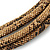 Statement Brown Snake Style Faux Leather Multi Cord Choker Necklace with Hammered Gold Tone Pendant - 43cm L/ 3cm Ext - view 3