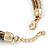 Statement Brown Snake Style Faux Leather Multi Cord Choker Necklace with Hammered Gold Tone Pendant - 43cm L/ 3cm Ext - view 5