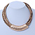 Statement Brown Snake Style Faux Leather Multi Cord Choker Necklace with Hammered Gold Tone Pendant - 43cm L/ 3cm Ext - view 2