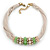 Beige Fabric Wire Choker Necklace with Light Green/ Cream Bead and Crystal Rings In Gold Tone - 41cm L/ 5cm Ext