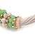 Beige Fabric Wire Choker Necklace with Light Green/ Cream Bead and Crystal Rings In Gold Tone - 41cm L/ 5cm Ext - view 2
