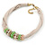 Beige Fabric Wire Choker Necklace with Light Green/ Cream Bead and Crystal Rings In Gold Tone - 41cm L/ 5cm Ext - view 3