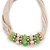 Beige Fabric Wire Choker Necklace with Light Green/ Cream Bead and Crystal Rings In Gold Tone - 41cm L/ 5cm Ext - view 6
