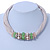 Beige Fabric Wire Choker Necklace with Light Green/ Cream Bead and Crystal Rings In Gold Tone - 41cm L/ 5cm Ext - view 7