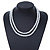 8mm Two Strand White Faux Glass Pearl Necklace - 50cm L/ 5cm Ext - view 2