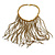 Statement Gold/ Bronze Glass Bead Fringe Necklace - 41cm L/ 20cm Front Drop - view 1