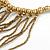 Statement Gold/ Bronze Glass Bead Fringe Necklace - 41cm L/ 20cm Front Drop - view 5