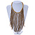 Statement Gold/ Bronze Glass Bead Fringe Necklace - 41cm L/ 20cm Front Drop - view 2