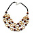 Layered Wood Bead and Ring Necklace with Faux Leather Cord - 70cm L/ 3cm Ext