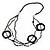 Long Multi-strand Black/ White Ceramic Bead, Acrylic Ring Necklace - 90cm L - view 4