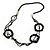 Long Multi-strand Black/ White Ceramic Bead, Acrylic Ring Necklace - 90cm L