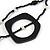 Long Multi-strand Black/ White Ceramic Bead, Acrylic Ring Necklace - 90cm L - view 3