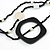 Long Multi-strand Black/ White Ceramic Bead, Acrylic Ring Necklace - 90cm L - view 5