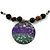 Black Faux Leather Beaded Cord with Green/Purple/Black Shell Pendant Necklace - 50cm L/ 3cm Ext - view 3