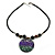 Black Faux Leather Beaded Cord with Green/Purple/Black Shell Pendant Necklace - 50cm L/ 3cm Ext