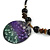 Black Faux Leather Beaded Cord with Green/Purple/Black Shell Pendant Necklace - 50cm L/ 3cm Ext - view 4