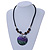 Black Faux Leather Beaded Cord with Green/Purple/Black Shell Pendant Necklace - 50cm L/ 3cm Ext - view 2