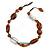 Transparent, Amber Brown Ceramic, Glass Beads Black Cord Necklace - 44cm L