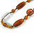 Transparent, Amber Brown Ceramic, Glass Beads Black Cord Necklace - 44cm L - view 4