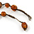 Transparent, Amber Brown Ceramic, Glass Beads Black Cord Necklace - 44cm L - view 3