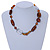 Transparent, Amber Brown Ceramic, Glass Beads Black Cord Necklace - 44cm L - view 2
