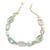White, Pale Green Ceramic, Glass Beads White Cord Necklace - 44cm L