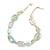 White, Pale Green Ceramic, Glass Beads White Cord Necklace - 44cm L - view 2