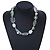 White, Pale Green Ceramic, Glass Beads White Cord Necklace - 44cm L - view 3
