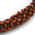 Brown Bead Cluster Cord Necklace - 48cm L/ 3cm Ext - view 4