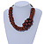 Brown Bead Cluster Cord Necklace - 48cm L/ 3cm Ext - view 2