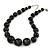 Black Wood Bead Necklace - 50cm L/ 3cm Ext