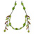 Vintage Inspired Green Ceramic Bead with Tassel Bronze Tone Chain Necklace - 96cm L - view 3