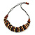 Brown/ Black/ Natural Cluster Bead Cord Necklace - 70cm L