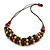 Brown/ Black/ Natural Cluster Bead Cord Necklace - 70cm L - view 3