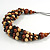 Brown/ Black/ Natural Cluster Bead Cord Necklace - 70cm L - view 4