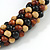 Brown/ Black/ Natural Cluster Bead Cord Necklace - 70cm L - view 5