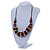 Brown/ Black/ Natural Cluster Bead Cord Necklace - 70cm L - view 2