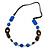 Geometric Blue Resin and Brown Wood Bead with Black Leather Cord Necklace - 88cm L
