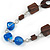Geometric Blue Resin and Brown Wood Bead with Black Leather Cord Necklace - 88cm L - view 3