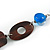 Geometric Blue Resin and Brown Wood Bead with Black Leather Cord Necklace - 88cm L - view 5