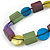 Multicoloured Wood and Shell Bead Metallic Silver Cord Necklace - 82cm L - view 3