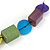 Multicoloured Wood and Shell Bead Metallic Silver Cord Necklace - 82cm L - view 4
