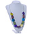 Multicoloured Wood and Shell Bead Metallic Silver Cord Necklace - 82cm L - view 2