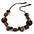 Wood and Ceramic Bead with Cotton Cord Necklace In Brown/ Black - 60cm L - view 1