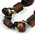 Wood and Ceramic Bead with Cotton Cord Necklace In Brown/ Black - 60cm L - view 3