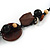 Wood and Ceramic Bead with Cotton Cord Necklace In Brown/ Black - 60cm L - view 4