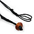 Wood and Ceramic Bead with Cotton Cord Necklace In Brown/ Black - 60cm L - view 5